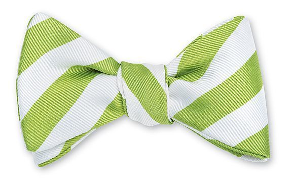 Lime Green & White Bar Stripe Bowtie