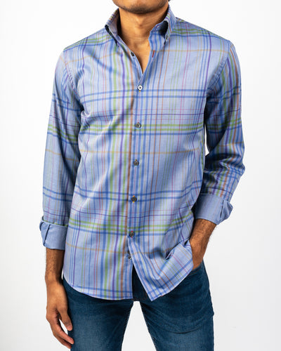 Blue Tartan Plaid Shirt