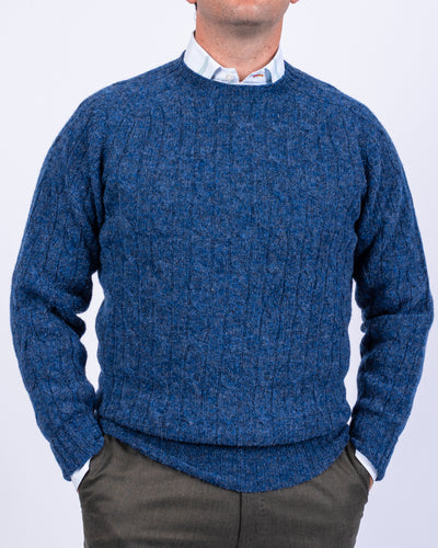 Denim Cable Shetland Sweater