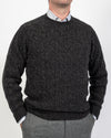 Smoulder Charcoal Crew Neck Cable Shetland Sweater