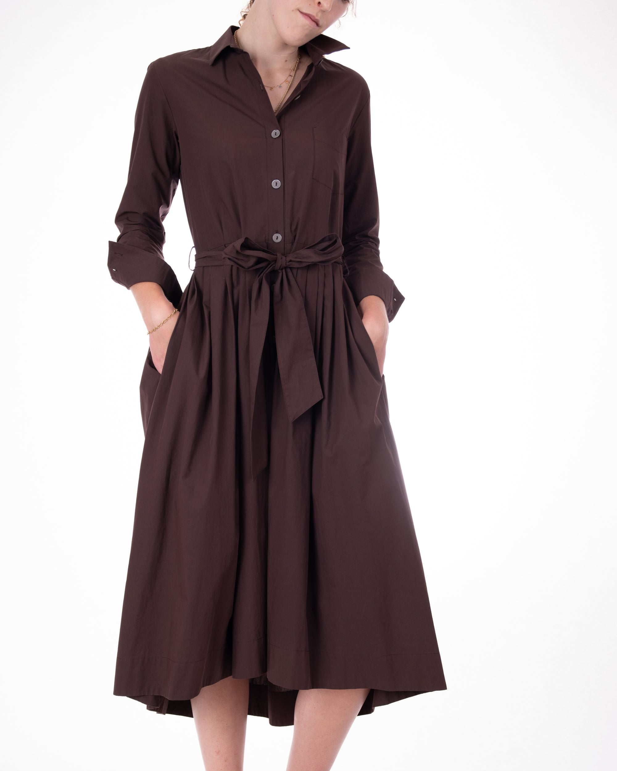 Las Vegas Pleat Waist Shirtdress