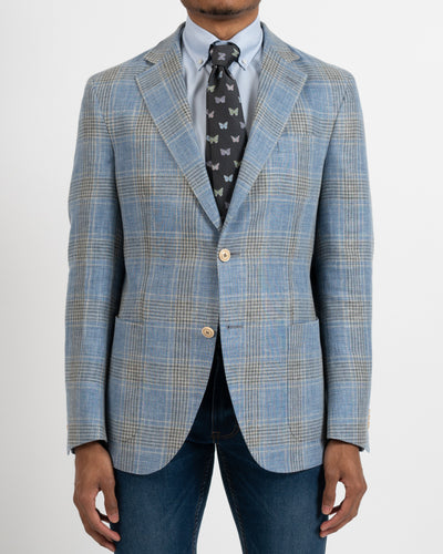 Blue and Grey Glenurquhart Linen & Wool Sportcoat