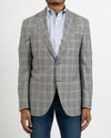 Black, White and Lt.Blue Glen Check Wool & Silk Sportcoat