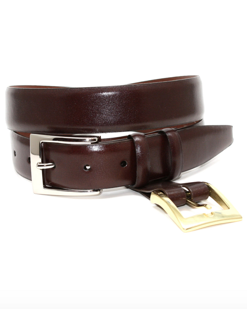 Italian Calfskin Bluffed Edge Dress Belt