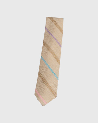 Tan Heather Herringbone Repp Stripe Necktie