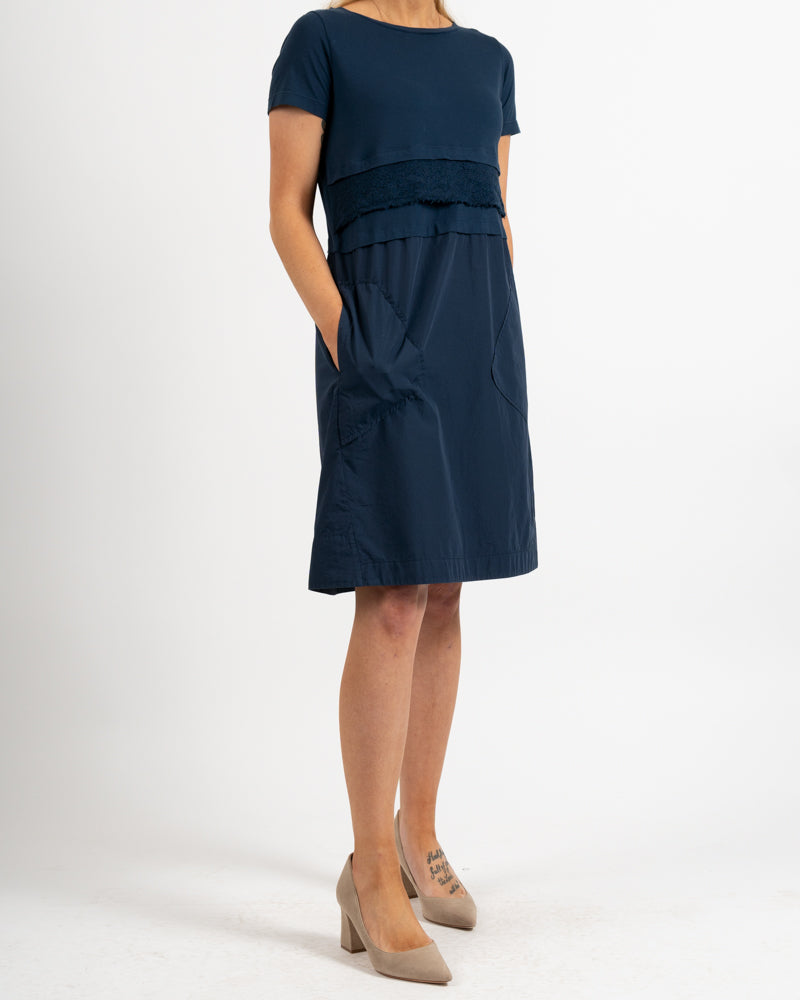 Navy Short Sleeve Cotton Poplin Dress