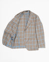St. Tropez Tan with Lt.Blue Windowpane Wool, Silk, and Linen Sportcoat