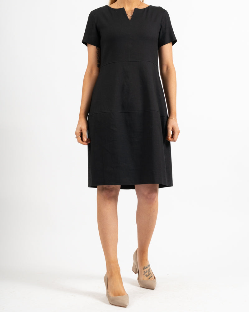 Origano Split Neck Linen Dress