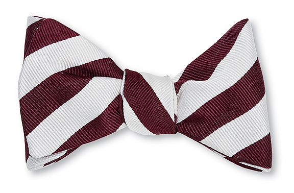 Burgundy & White Bar Stripe Bowtie