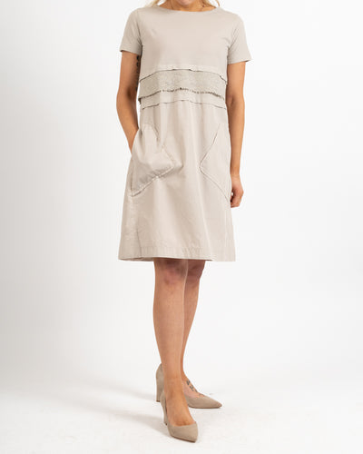 Taupe Short Sleeve Poplin Dress
