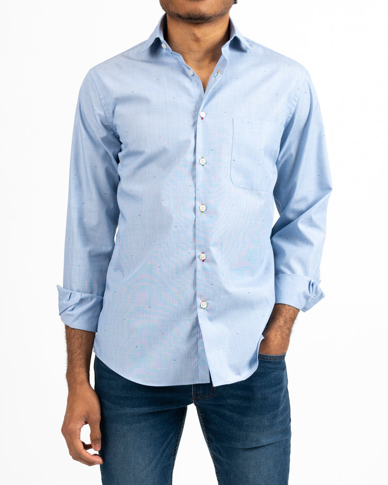 Blue Butterfly Dot Shirt