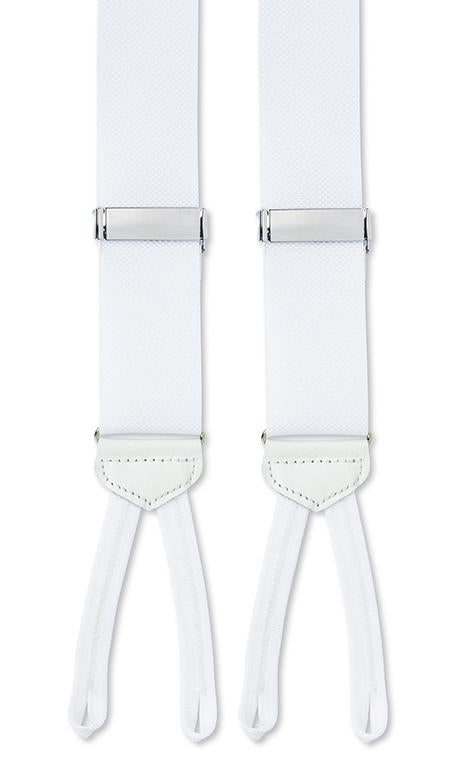 Formal White Woven Nylon Braces