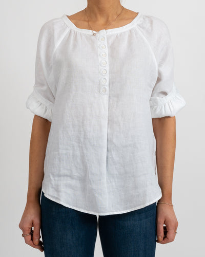 White Long Sleeve Linen Peasant Blouse
