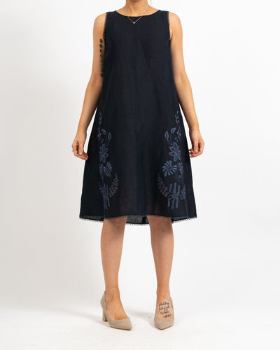 Navy Sleeveless Linen Embroidered Dress