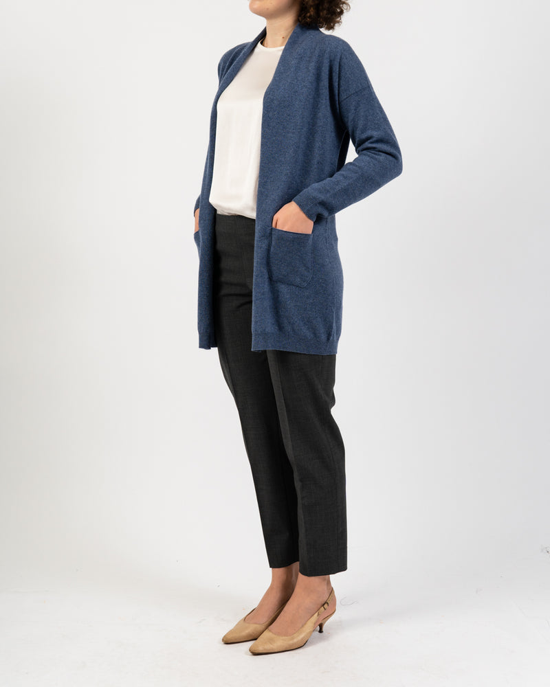 Long Heather Blue Cashmere Cardigan