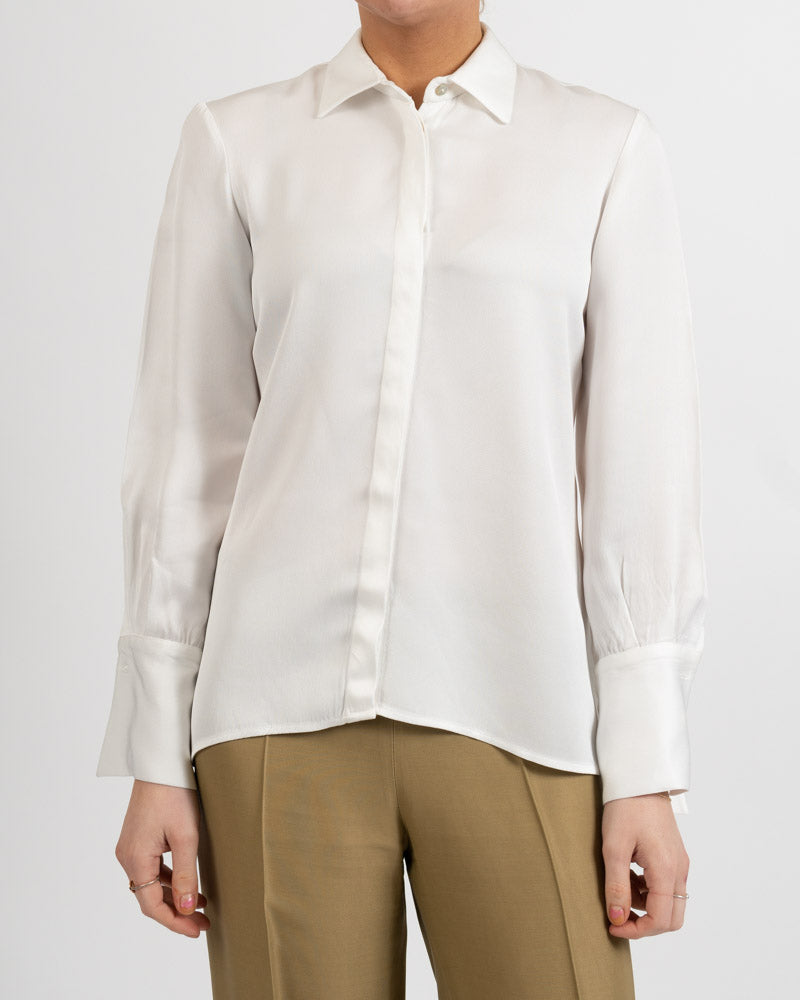Rania Sharkskin Off White Blouse