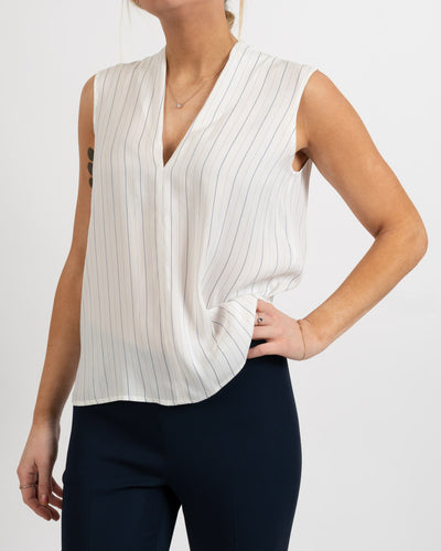 Clio Stripe V-Neck Vented Back Blouse