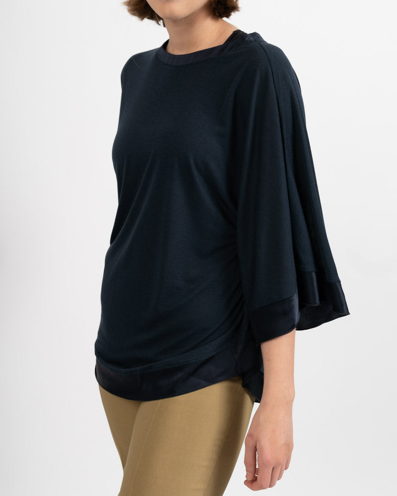 Satin Trim Navy Poncho