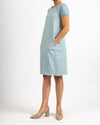 Seafoam Short Sleeve Stitch Detail Dress