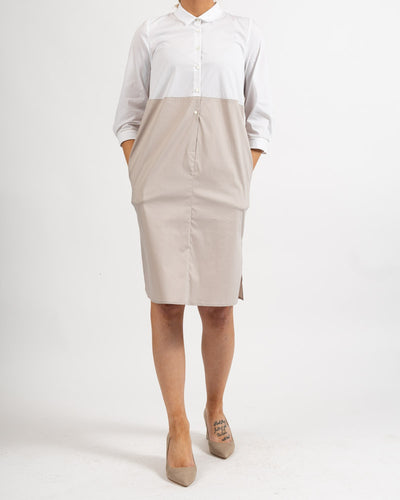 High Waisted White and Beige 3/4 Sleeve Dress