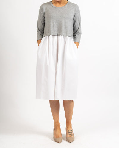 3/4 Sleeve Dress Gray and White