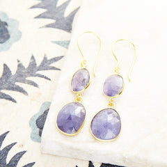 PEBBLE DOUBLE DROPS WITH TANZANITE