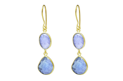 DOUBLE PEBBLE DROPS WITH TANZANITE
