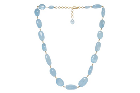 AQUAMARINE CABOCHON BEAD NECKLACE