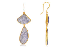 CARVED TANZANITE EARRINGS