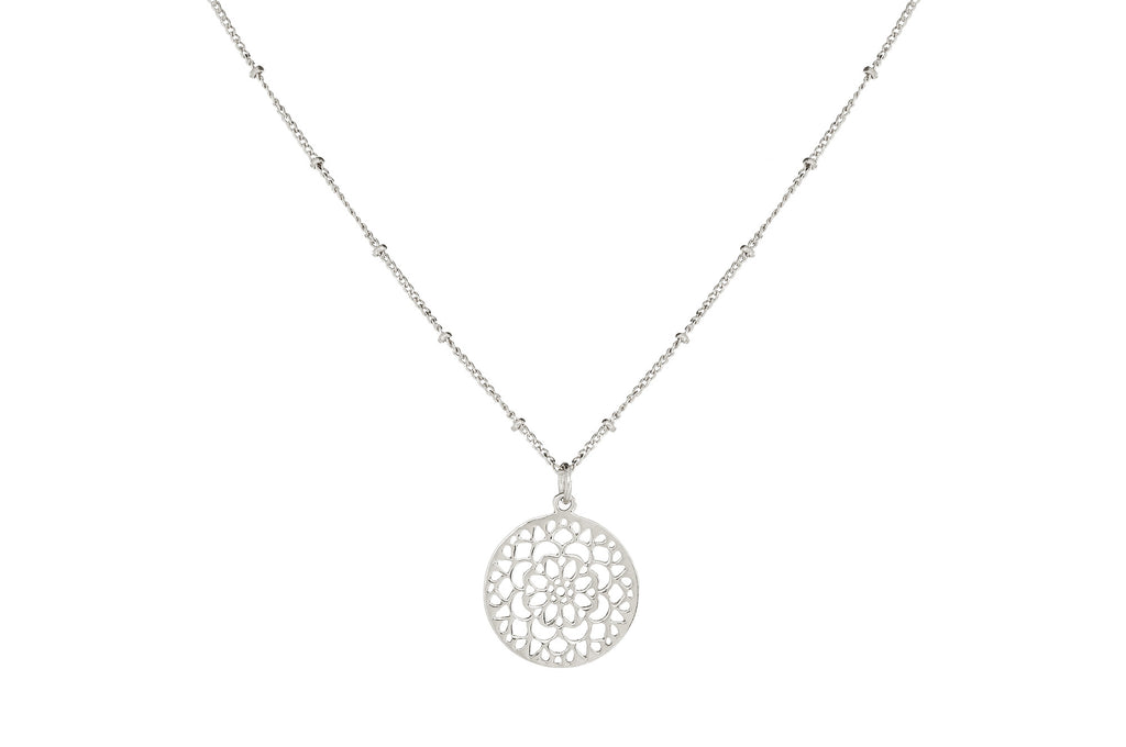 MANDALA PENDANT NECKLACE IN SILVER