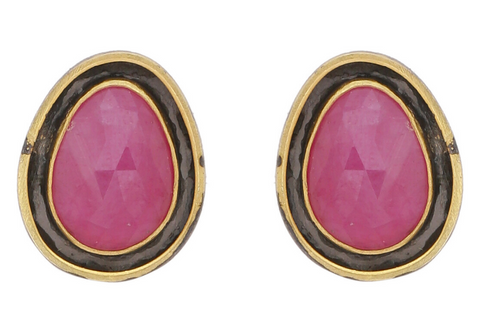 RUBY PEBBLE STUDS