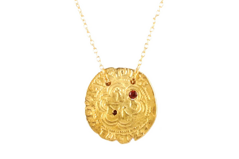 GARNET COIN NECKLACE - LONGER CHAIN VERSION
