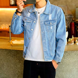 Men's Denim Jacket Hip Hop Retro Denim Jacket Street Casual Pilot Harajuku Fashion Hole Slim Buttoned Sky Blue Men's Jacket