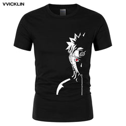 2019 Men's Summer Fashion Brand T Shirt Naruto Shippuden Red Sun Anime Striped Men T-shirt Cotton Short Sleeve Tshirt Top Tees