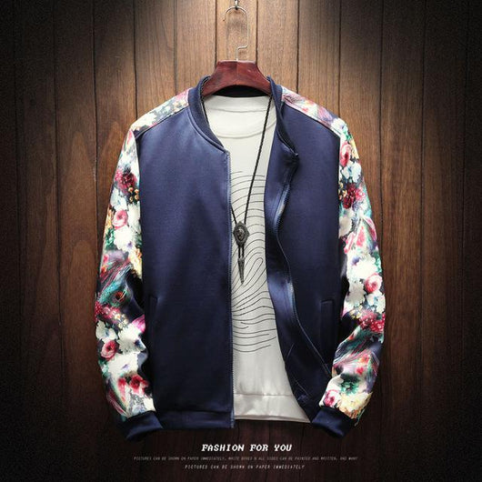 2019 Floral Fashion Fall Winter Pilot Jacket Men's Patchwork Flowers Long Sleeve Zip Jacket Jacket Men's Bomber Jacket