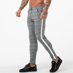 Casual Mens Chinos Cotton Slim Fit Men Pants Trousers Skinny Chinos Pants Grey Ankle Length Super Stretch Pant Plaid Side Stripe