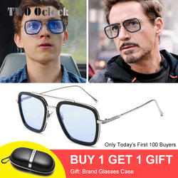 Tony Stark Sunglasses Men Vintage Retro Men's Glasses Iron Man 3 Sunglases Yellow Red Sun Glass 2019 Shades Men oculos W66218