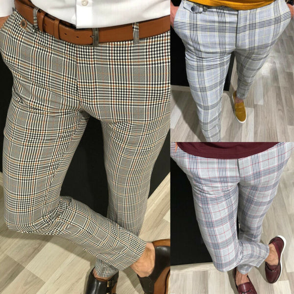 Fashion Mens Slim Fit Trousers Check Casual Pants Joggers Tartan Jogging Skinny Bottoms New Plus Size