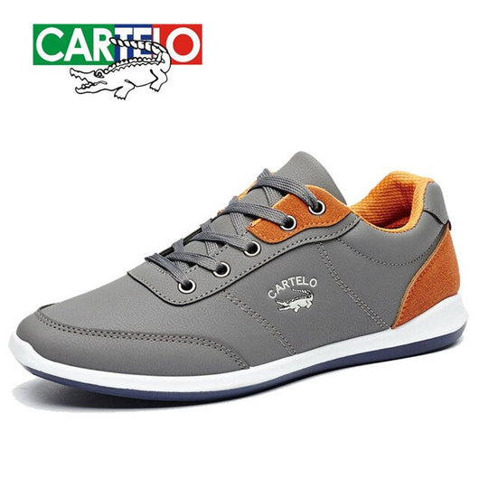 CARTELO New Men Shoes Lace-Up Men Fashion Shoes Microfiber Leather Casual Shoes Brand Men Sneakers  Men FLats