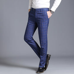 Brand Formal Pants Men 2019 Business Casual Slim Fit Long Trousers High Quality England Classic Plaid Office Suit Pants Wedding