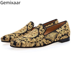 Gold Embroide Men Shoes Round Toe Slip On Flat Heel Party Shoes Luxury Gold Color Comfy Insole Loafers Man Shoes 39-46