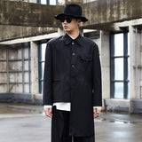 Men Casual Suit Coat Irregular Hem Male Vintage Japan Streetwear Hip Hop Gothic Jacket Outerwear Stage Clothes