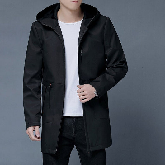 Men Medium-length Coat 2019 Spring And Autumn New Style Middle-aged Business Casual Jacket Hooded Men'S Wear in Young People