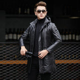 Men Long Slim Leather Jacket
