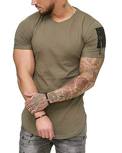 308USD Mens Fashion Solid Color T-Shirts - Casual Sport Fitness Short Sleeve Tops