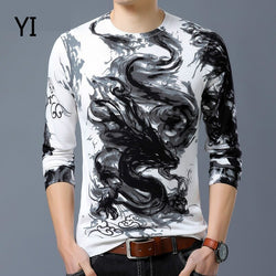 2019 Men long-sleeved O-Neck T shirt Male business autumn winter tops tees Man casual printing flowers T shirts