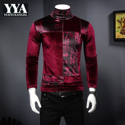 Mens T-Shirts Fashion 2019 Winter Turtleneck Slim Warm Long Sleeve Tees Male Casual Korean High Neck Tops Clothes High Quality