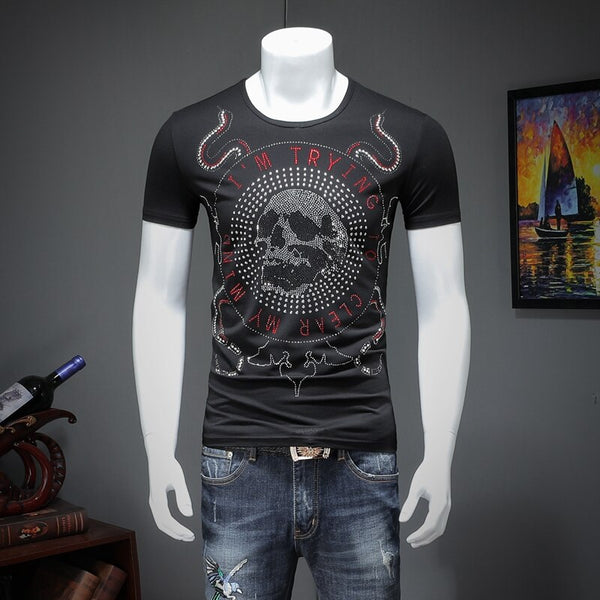 Men's short-sleeved summer leisure modal cotton T-shirt men printing T42220 P50 qiantang 2009 article number