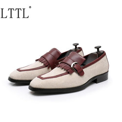 LTTL Newest Style White Canvas Shoes Men Loafers Patchwork Buckles Tassel Casual Shoes Handmade Men's Party And Prom Shoes
