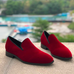Wine Red Velour Loafers Men Casual Shoes Comfort Daily Driving Shoes